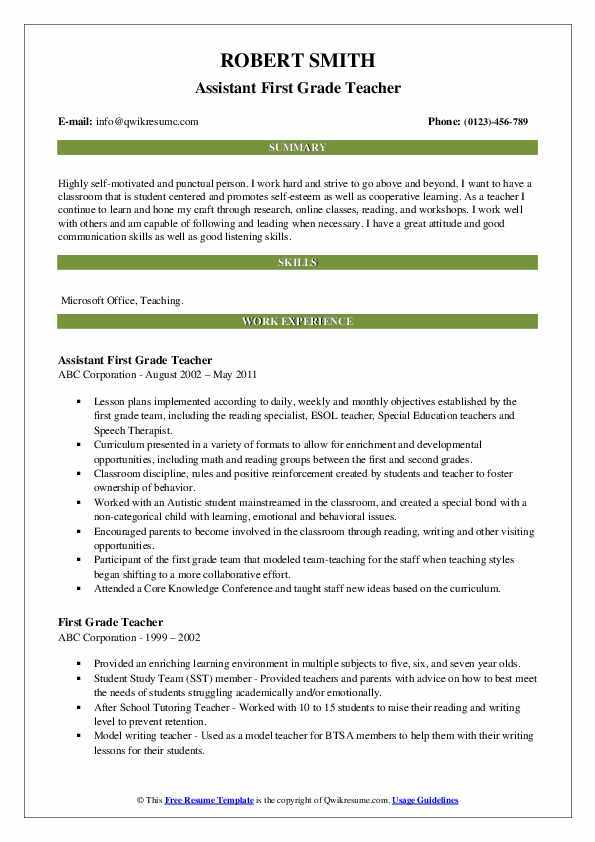 Assistant First Grade Teacher Resume Format