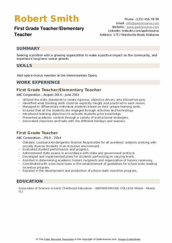 First Grade Teacher/Elementary Teacher Resume Sample