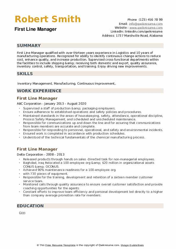 First Line Manager Resume example