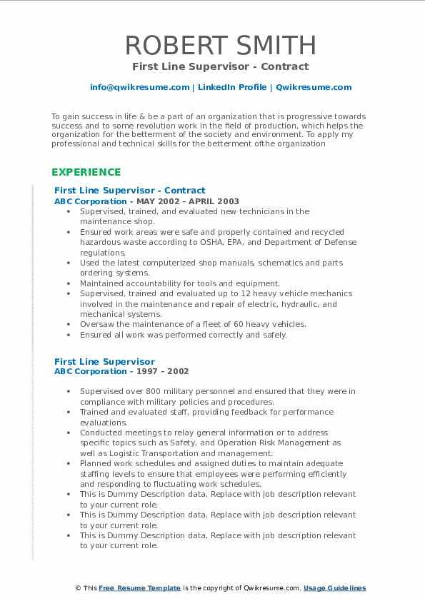 Mechanical Maintenance Supervisor Resume Samples Qwikresume