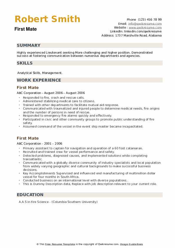 First Mate Resume example