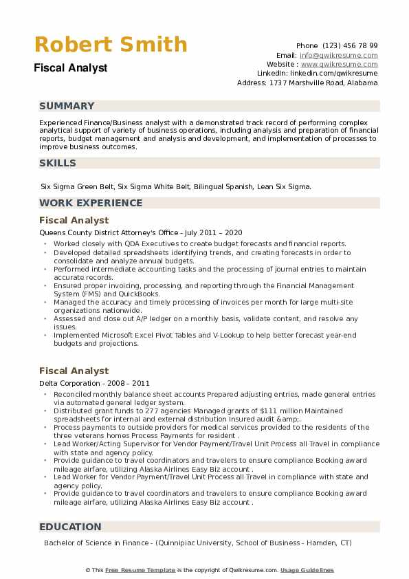 Fiscal Analyst Resume example