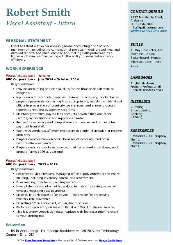 Fiscal Assistant Resume Samples | QwikResume