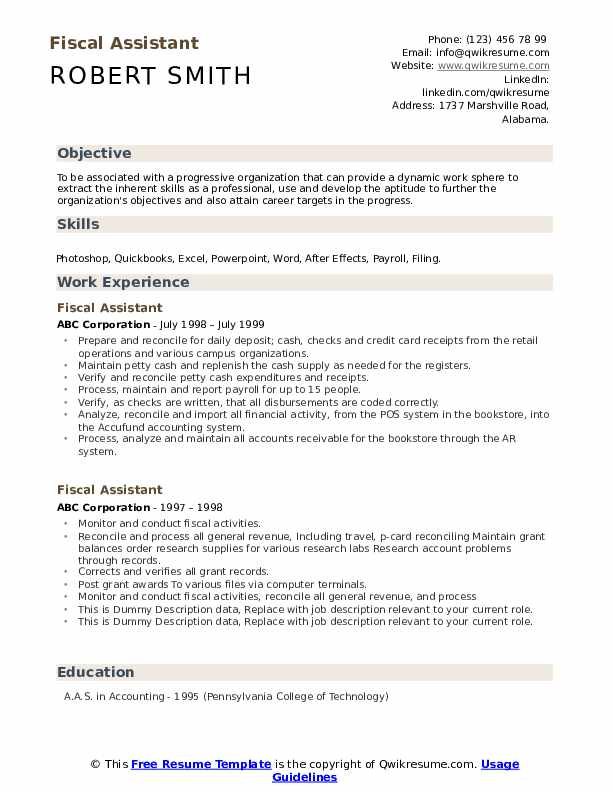 Fiscal Assistant Resume example