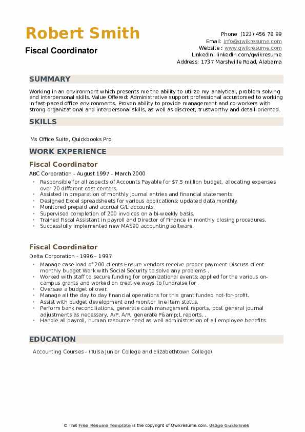 Fiscal Coordinator Resume example