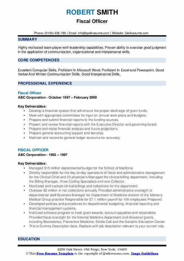 Fiscal Officer Resume example