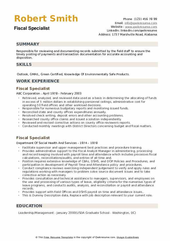 Fiscal Specialist Resume example