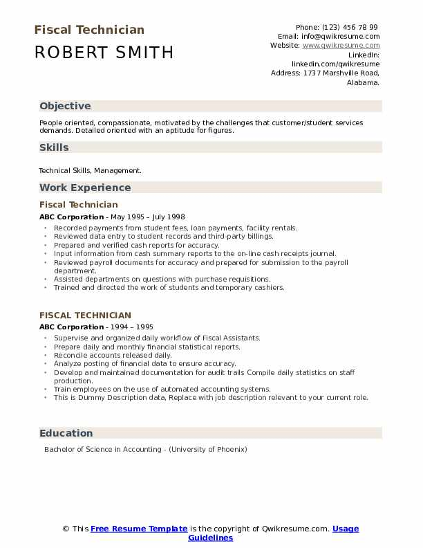 Fiscal Technician Resume example