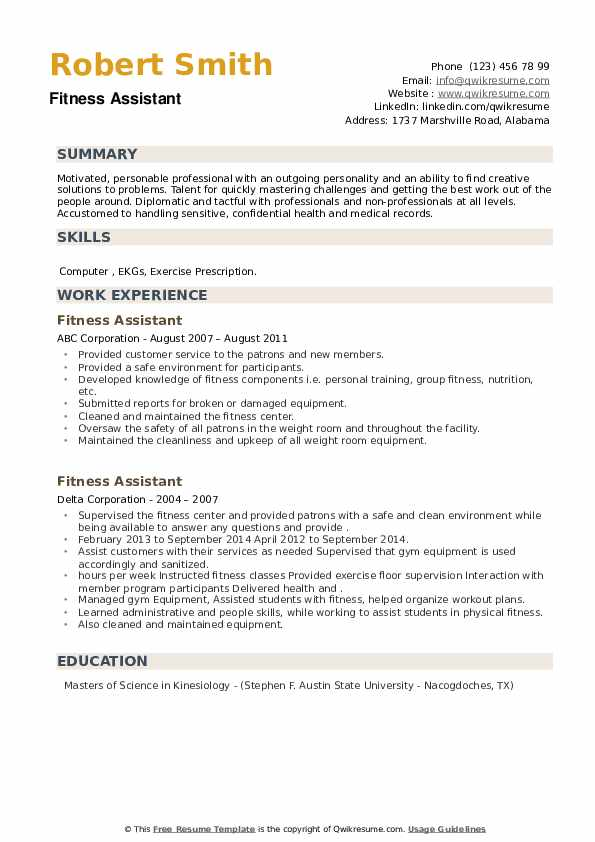 Fitness Assistant Resume example