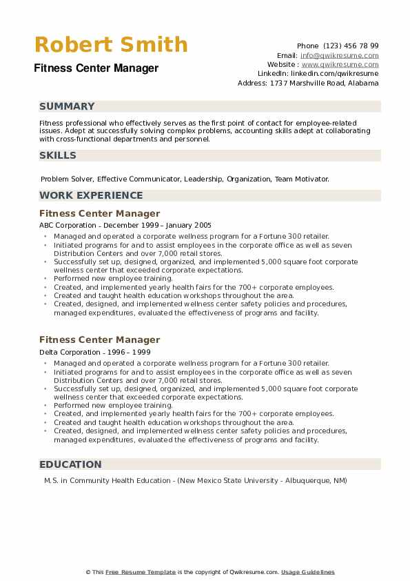 Fitness Center Manager Resume example