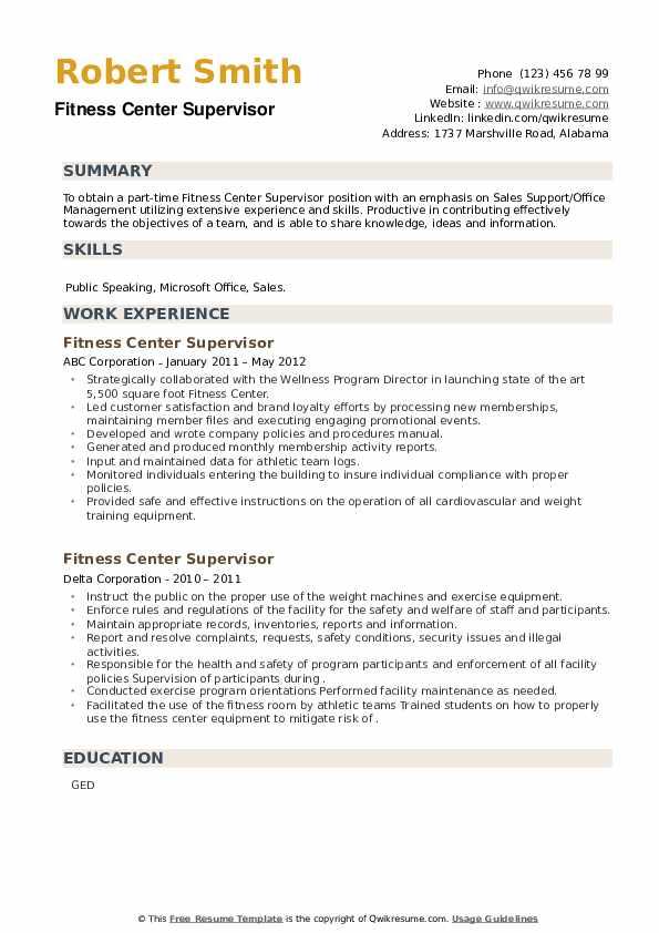 Fitness Center Supervisor Resume example