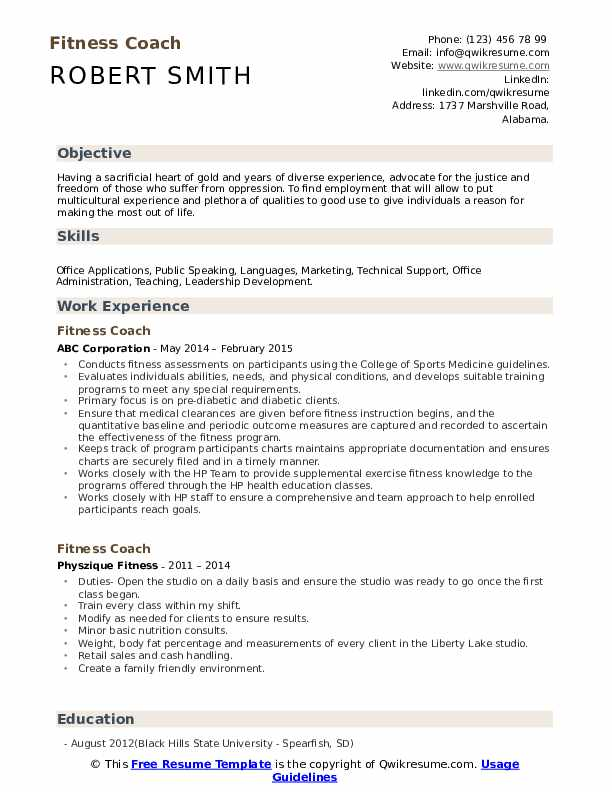Fitness Coach Resume Format