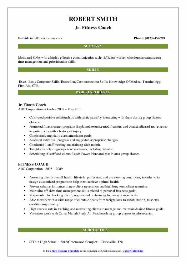 Jr. Fitness Coach Resume Template