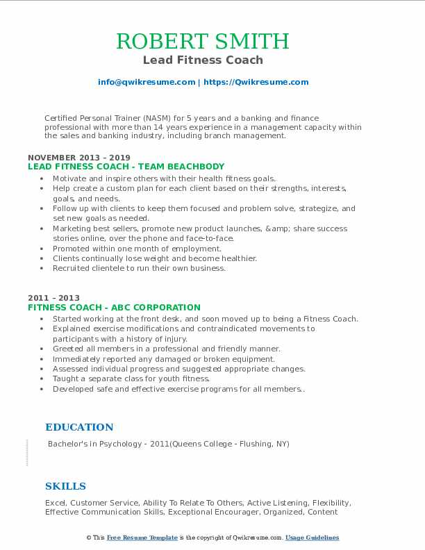 Lead Fitness Coach Resume Model