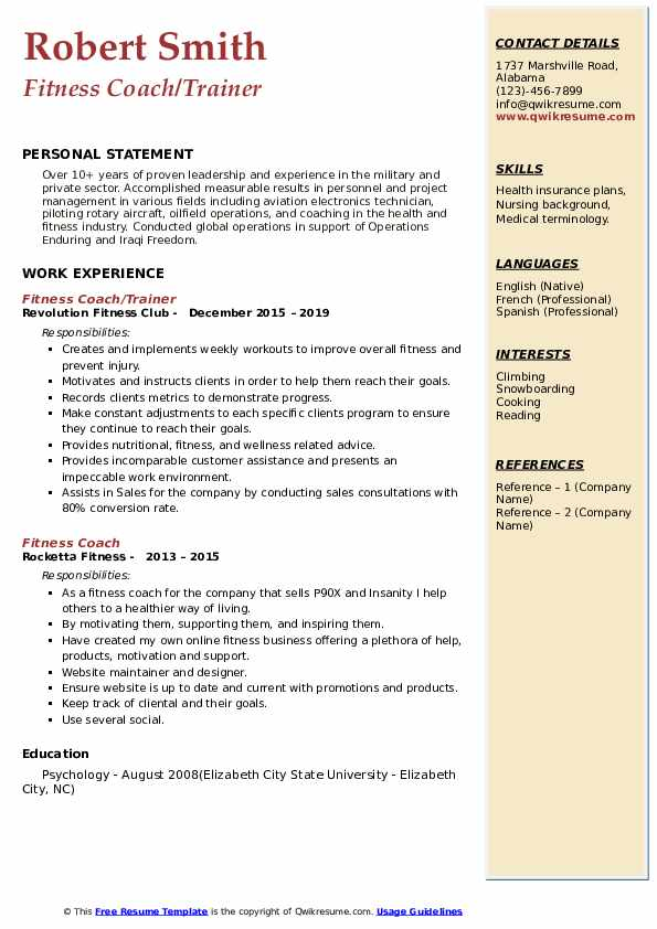 Fitness Coach/Trainer Resume Template