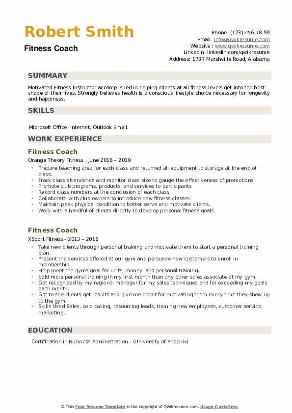 Fitness Coach Resume example