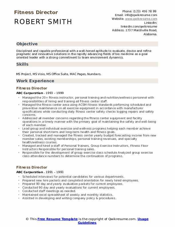 Fitness Director Resume Format