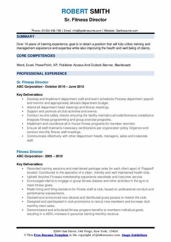 Sr. Fitness Director Resume Model