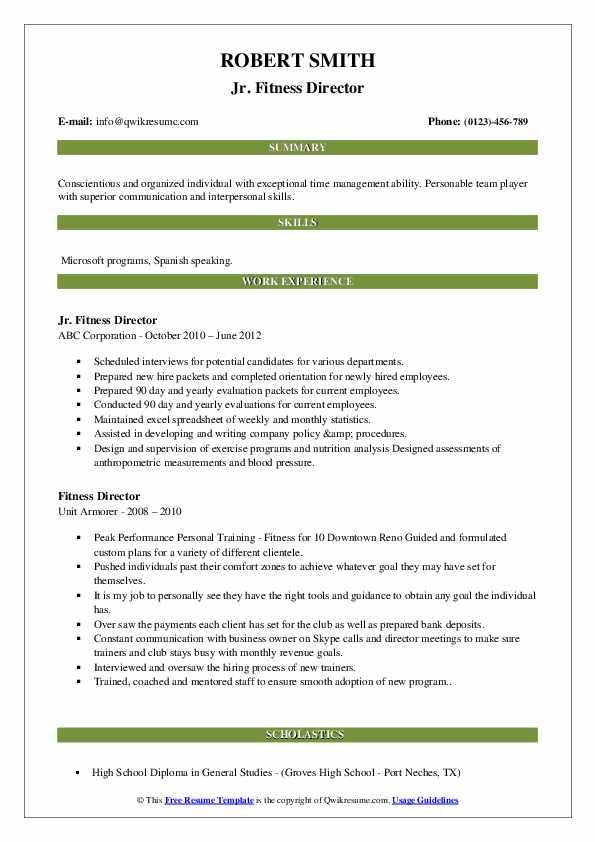 Jr. Fitness Director Resume Sample
