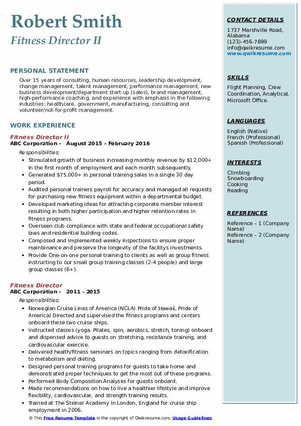 Fitness Director II Resume Example