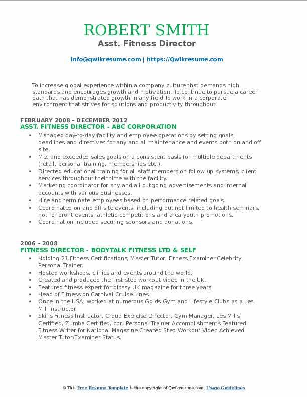 Asst. Fitness Director Resume Sample