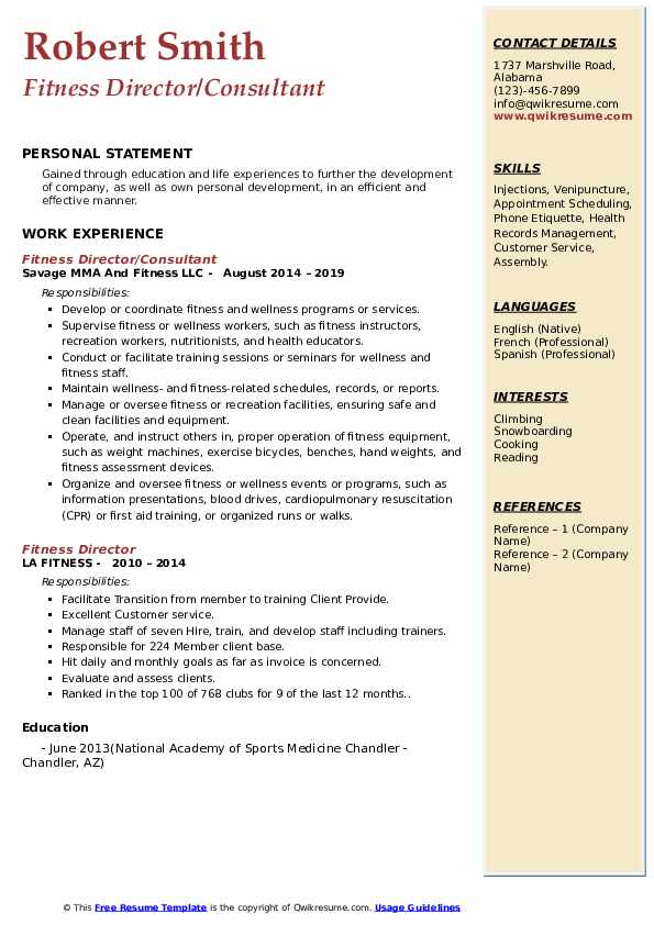 Fitness Director/Consultant Resume Example