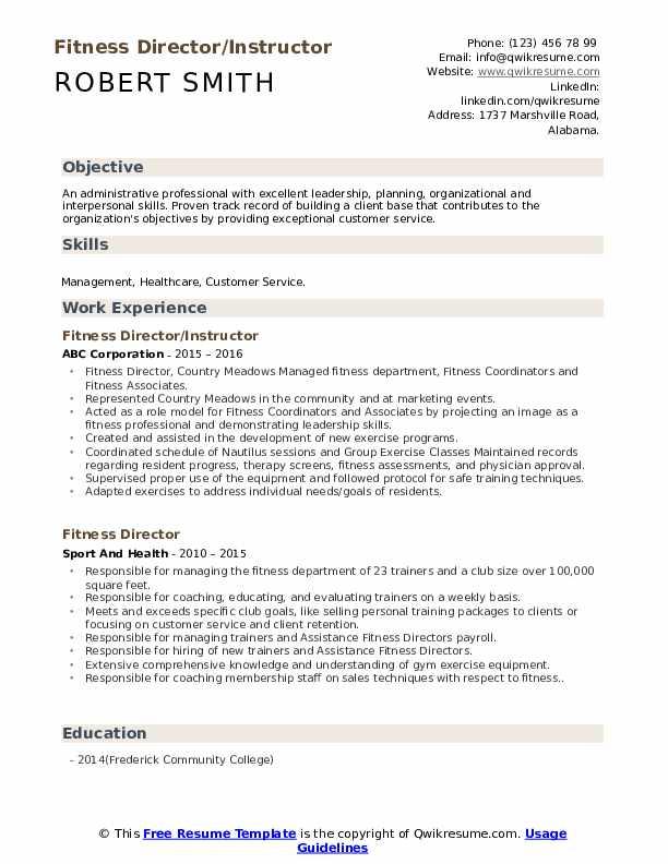 Fitness Director/Instructor Resume Model