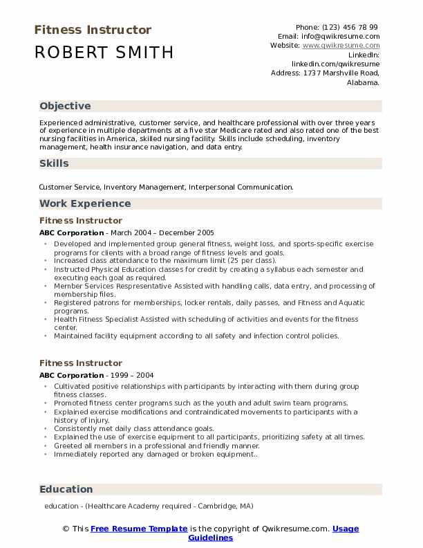 fitness instructor resume samples