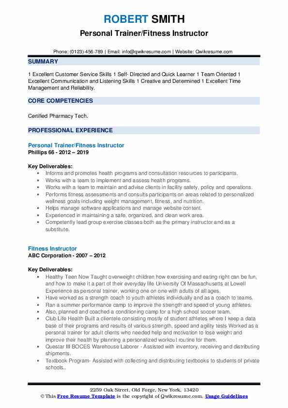 Personal Trainer/Fitness Instructor Resume Sample