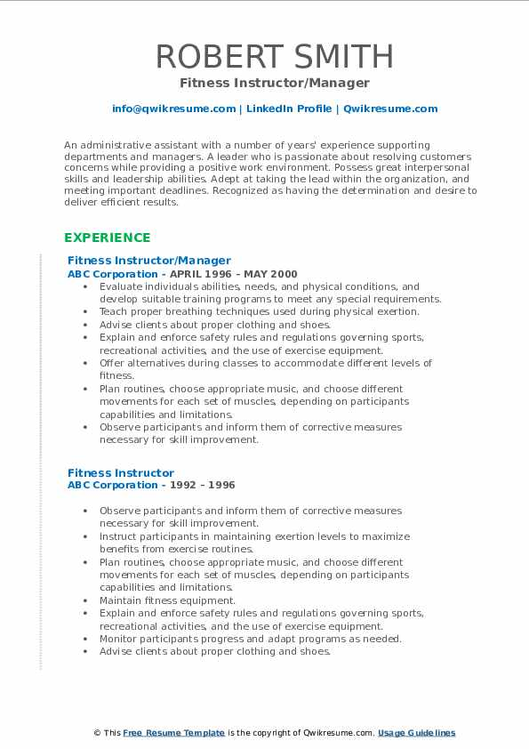 Fitness Instructor/Manager Resume Format
