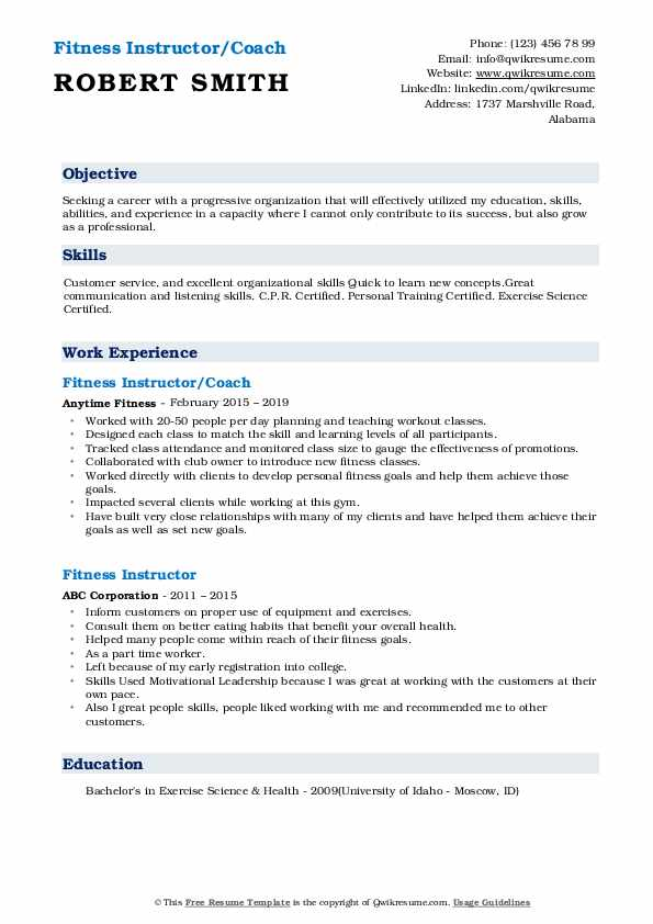 Fitness Instructor/Coach Resume Template