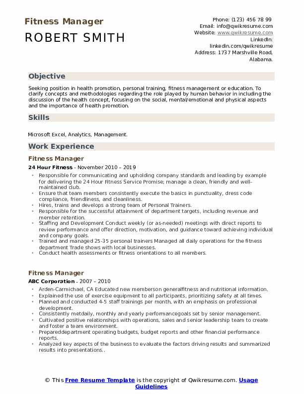 Fitness Manager Resume Format