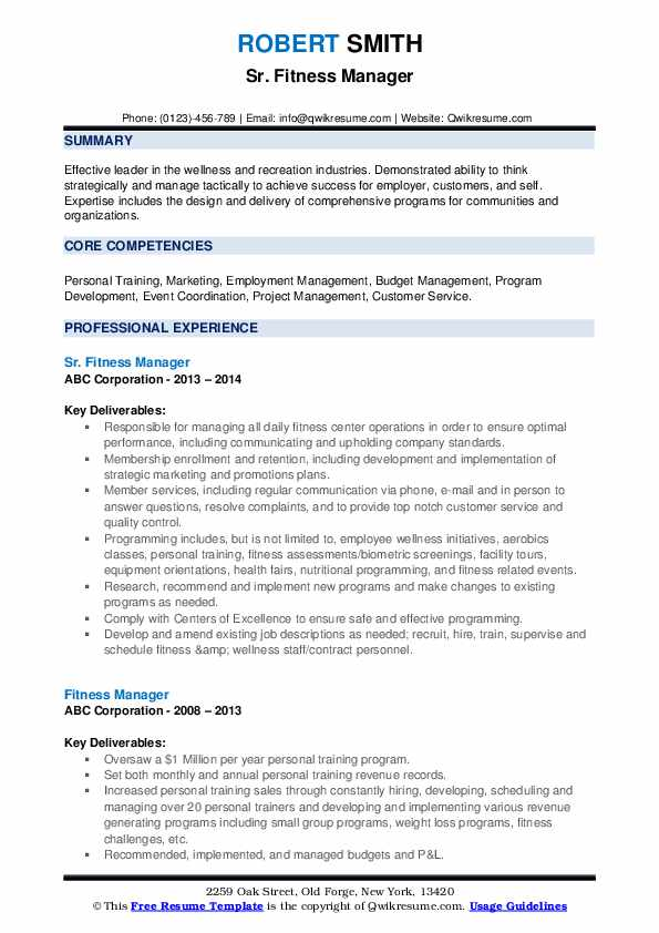 Sr. Fitness Manager Resume Example