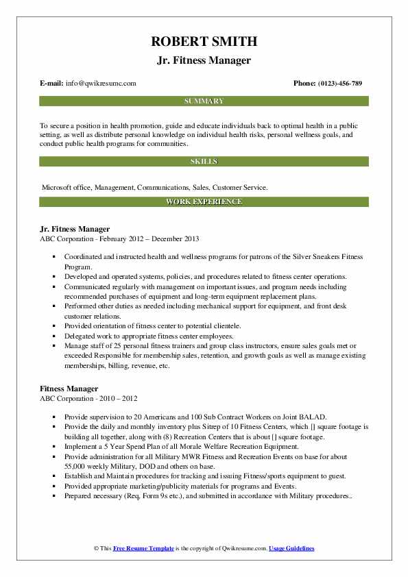 Jr. Fitness Manager Resume Template