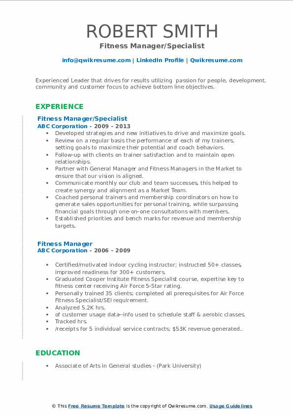 Fitness Manager/Specialist Resume Model
