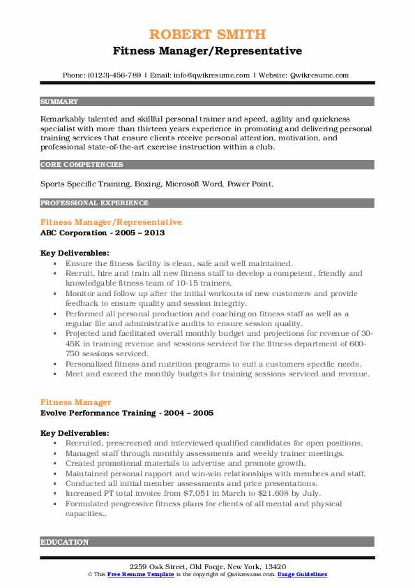 Fitness Manager/Representative Resume Model
