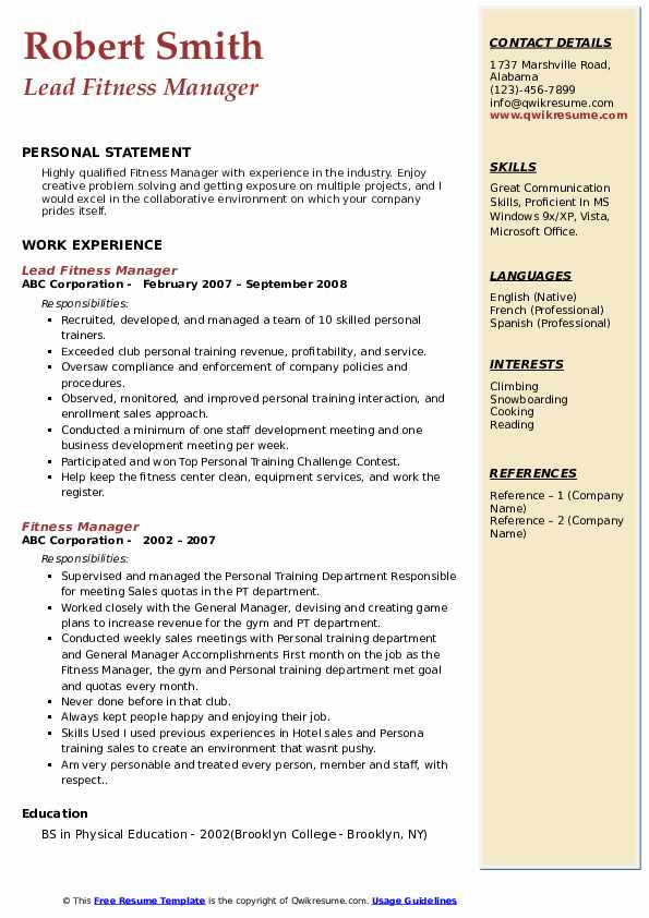 Lead Fitness Manager Resume Example