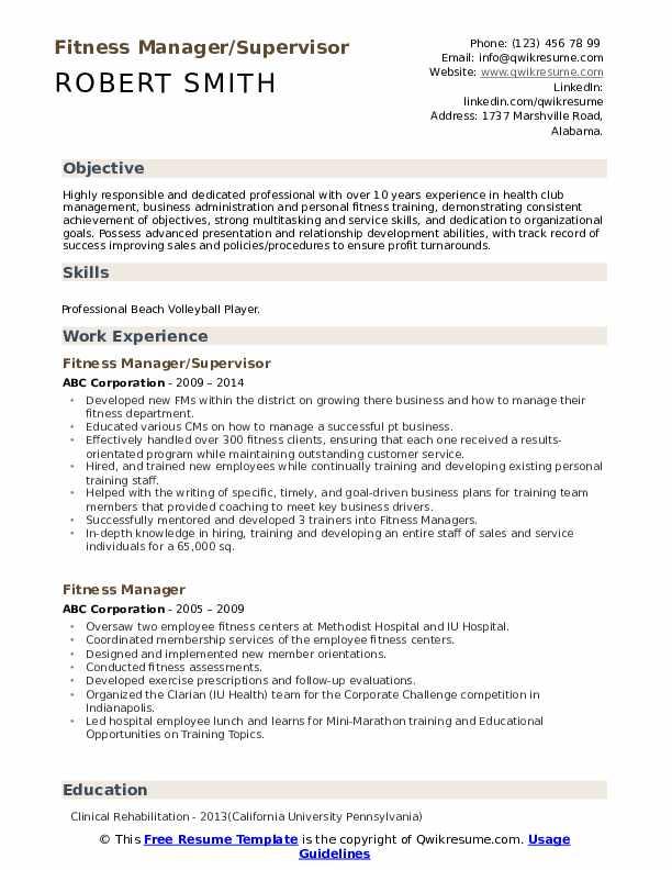 Fitness Manager/Supervisor Resume Template