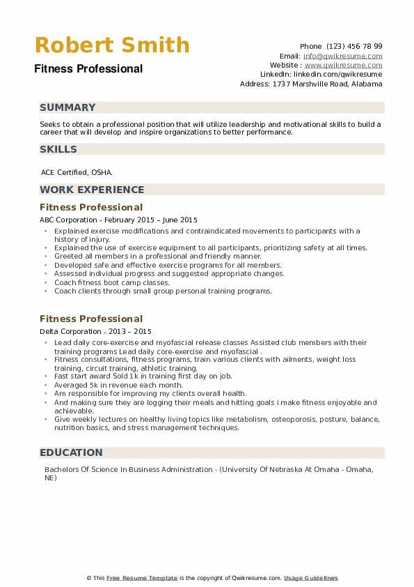 Fitness Professional Resume example