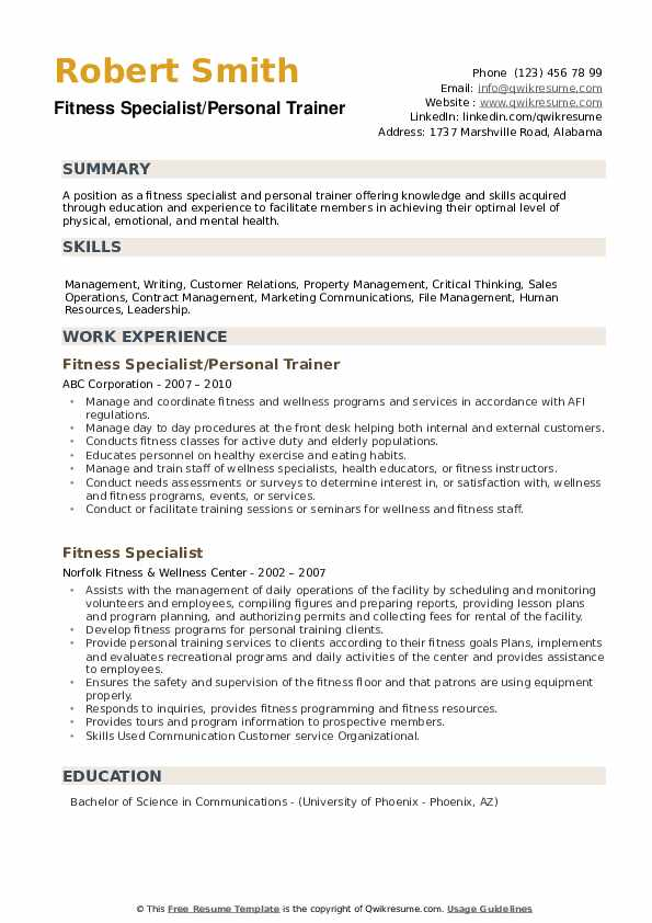 Fitness Specialist Resume Samples Qwikresume