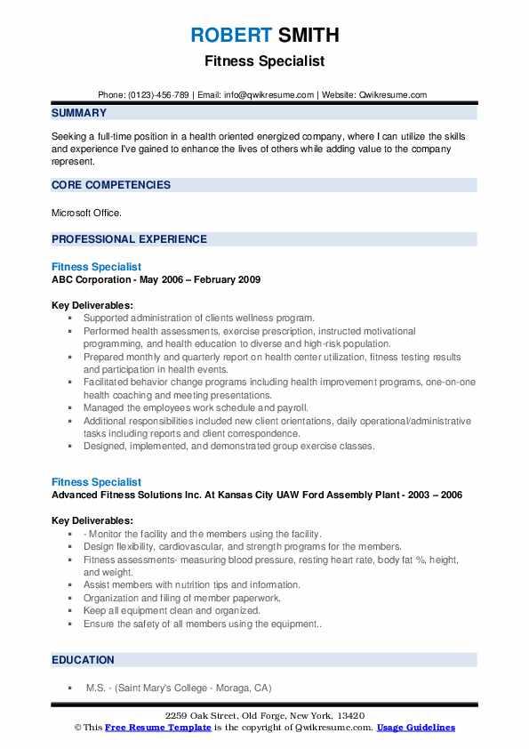 Fitness Specialist Resume example