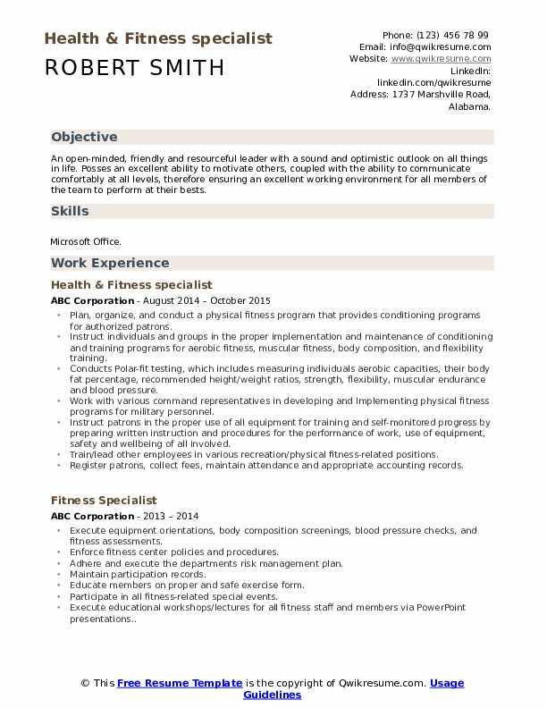Recreation Aide Resume Model