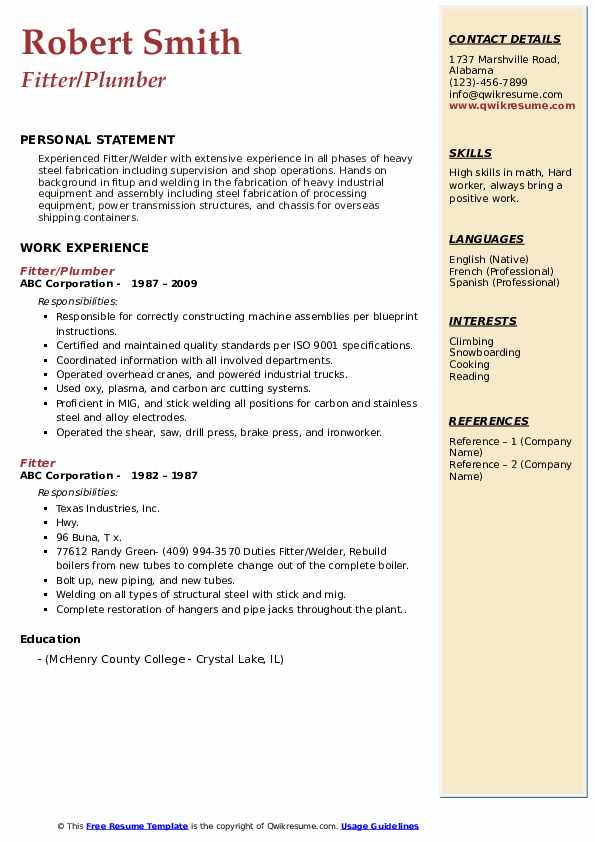 iti maintenance fitter resume  iti fitter resume sample
