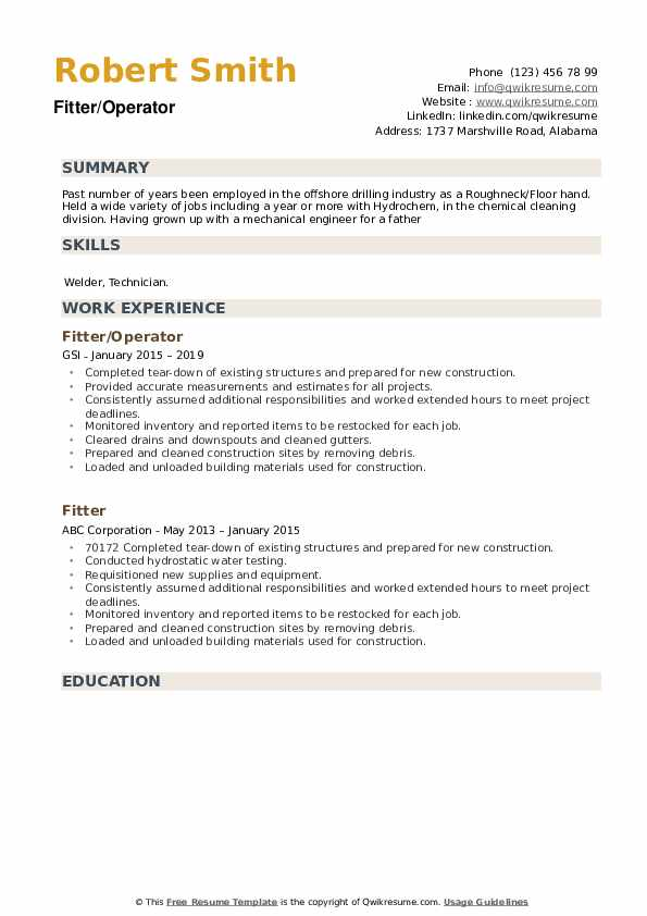 Fitter Resume example