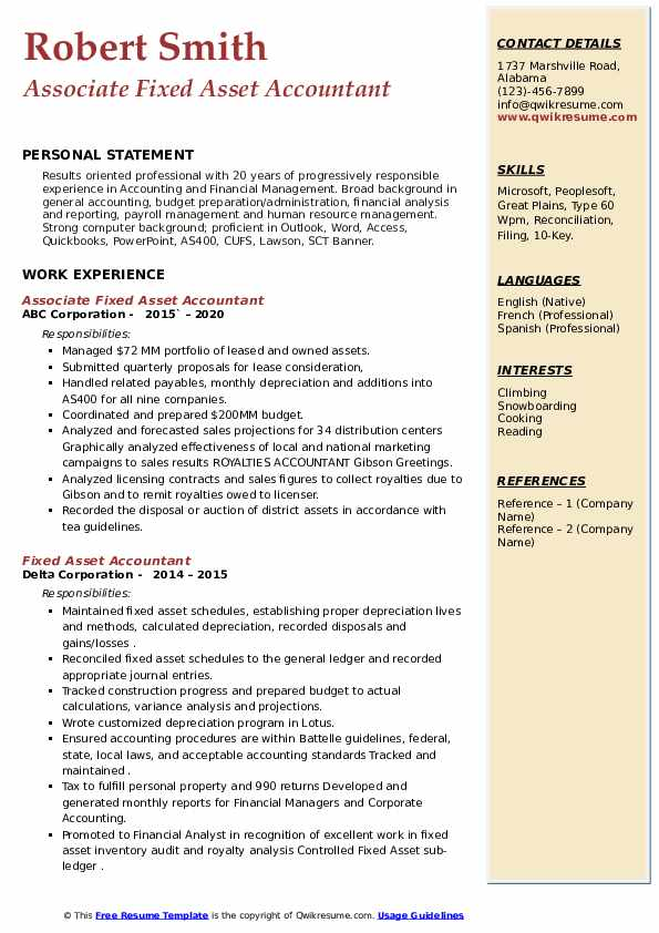 fixed asset accountant resume samples