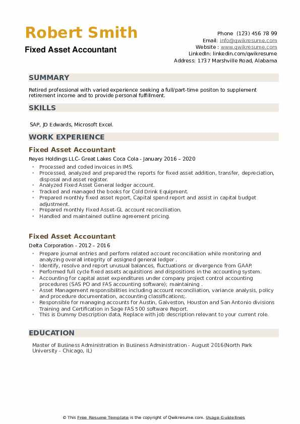 Fixed Asset Accountant Resume example