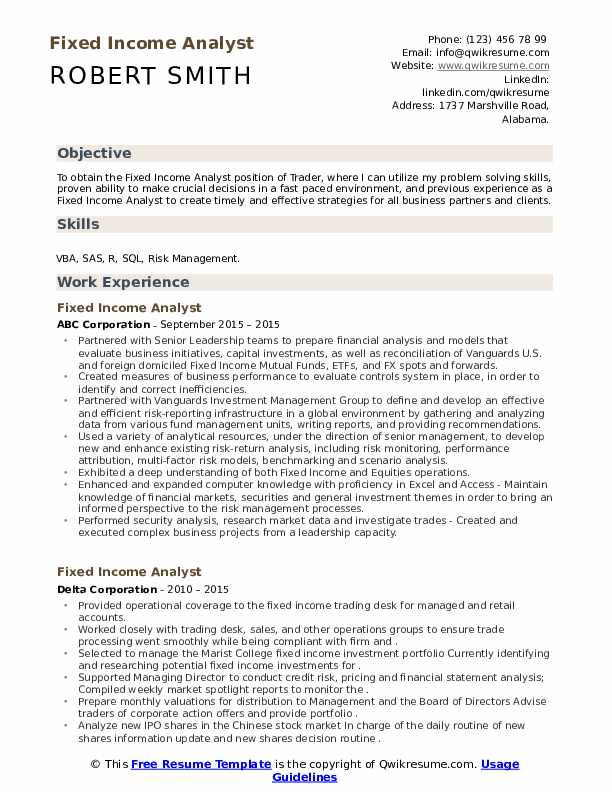 Fixed income risk analyst resume sample house cleaning resume