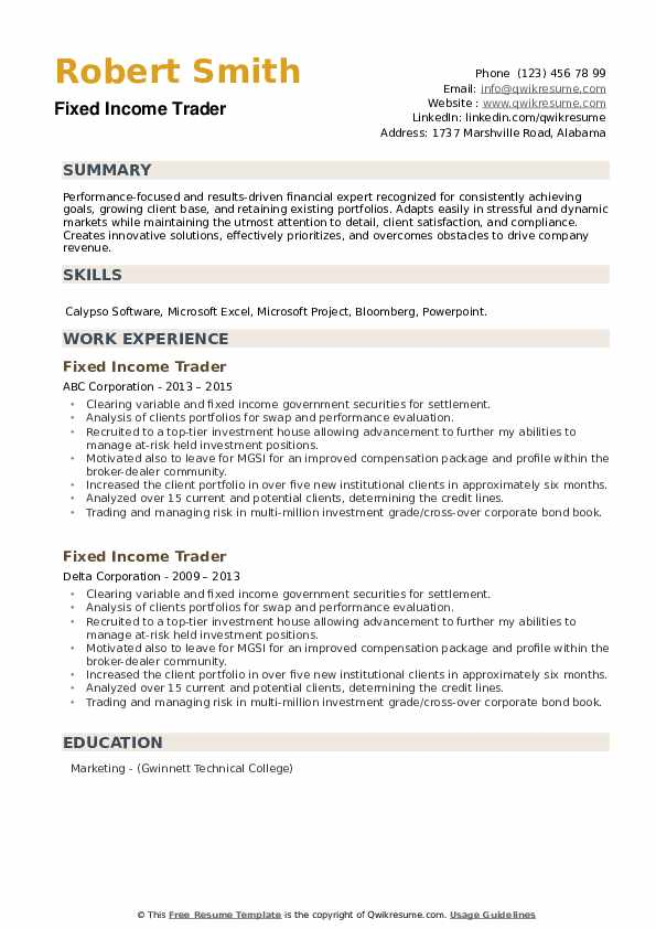 Fixed Income Trader Resume example
