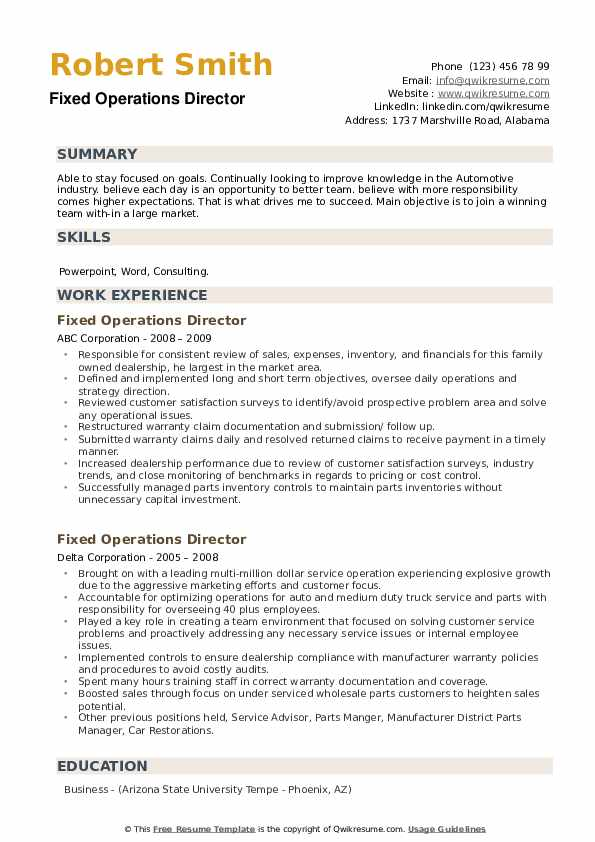 Fixed Operations Director Resume example