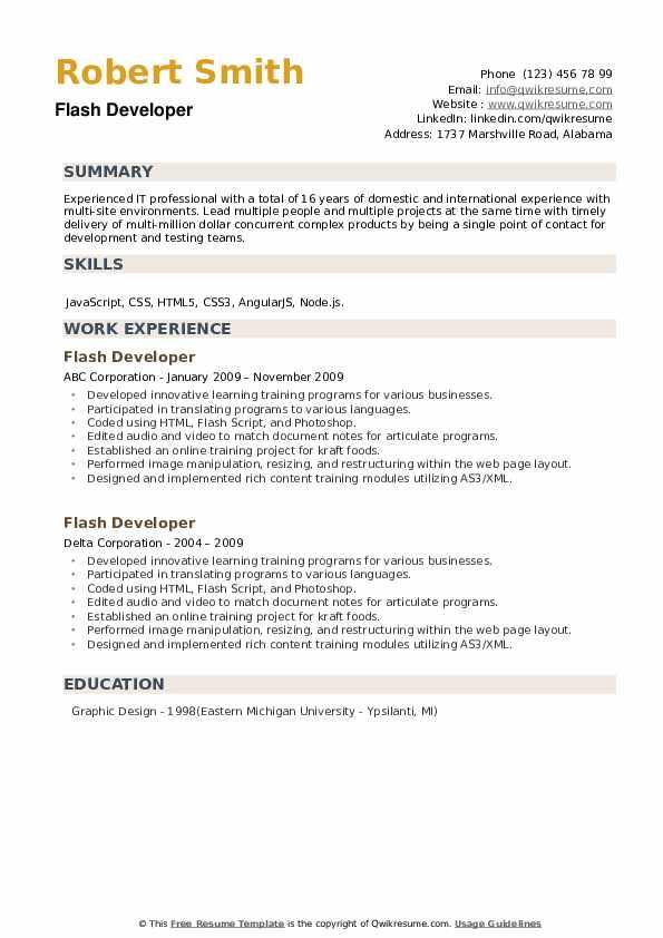 Flash Developer Resume example